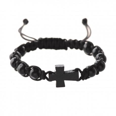 Black Corded Cross Bracelet