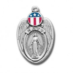 Navy Shield Sterling Silver Miraculous Medal