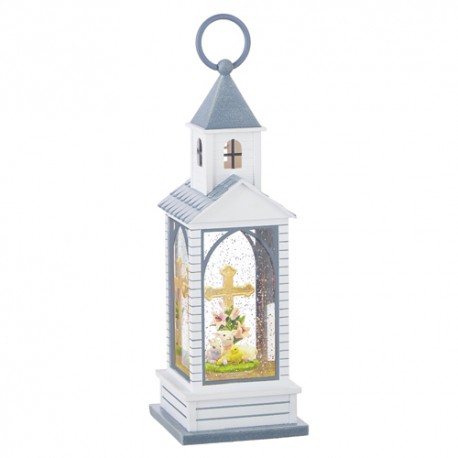 Baby Animals with Cross Lighted Water Chapel