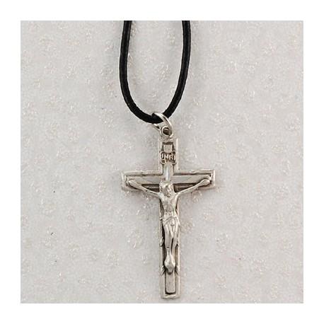 "Crucifix w/18"" Leather Cord"