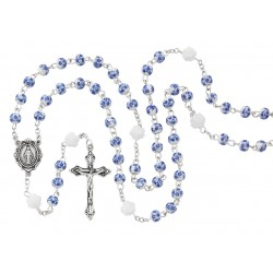 Rosary-Blue Ceramic Flower