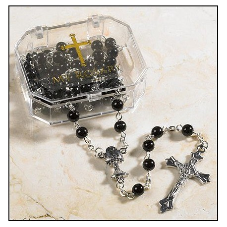 First Communion Rosary-Black