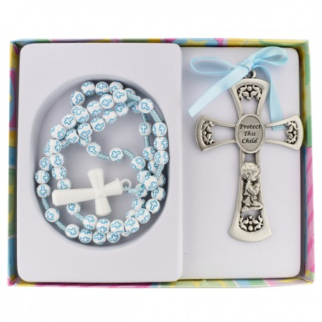 Blue Cross Crib Medal w/Rosary