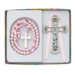 Pink Rosary w/Pewter Girl Cross Crib Medal