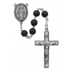 Black Wood Sterling Silver Rosary