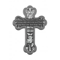 Pewter Wall Cross with Boy Blessing