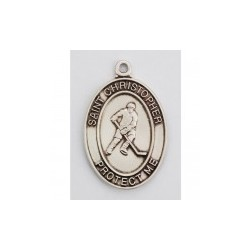 "St. Christopher Sterling Silver Hockey Medal w/24"" Chain – Boxed"