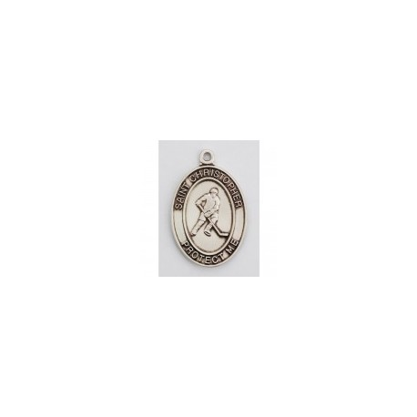 """St. Christopher Sterling Silver Hockey Medal w/24"""" Chain – Boxed"""